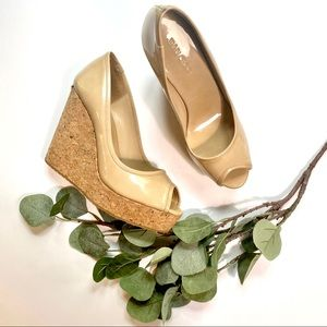 Jimmy Choo   Papina Cork Wedges in Patent Leather